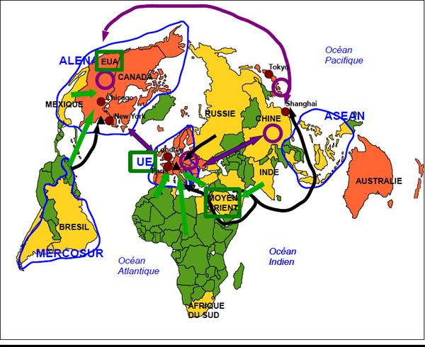 Pôles et flux de la mondialisation (croquis)